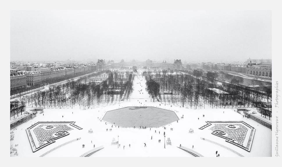 Le jardin des Tuileries depuis la grande roue de la Concorde